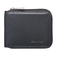 PIERRE CARDIN MENS ZIP RFID PROTECTED WALLET - BLACK ITALIAN LEATHER